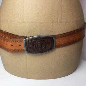 "Vintage Tooled Brown Leather Belt & Buckles 36-40"""